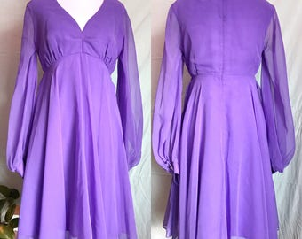 Price Reduced! Vintage 1960s Size Small Lavender Chiffon Babydoll Party Dress / Larry Sakin Desert Fashions Tucson