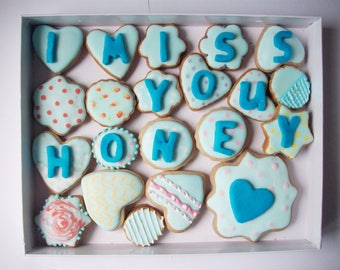 cookies with a message, box of cookies, sweet gift