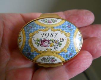 Halcyon Days 1987 Annual Year trinket/pill box