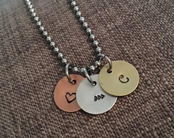 Personalized Charm Necklace, Initials, Stamped, Design your own