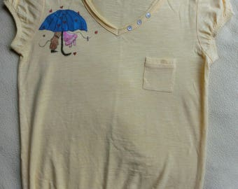 Rain of kisses t-shirt size S, OOAK