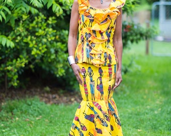 2 Piece African Outfit & Head Wrap