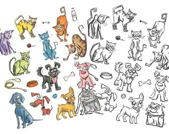 Tim Holtz - Mini Cats & Dogs Cling Stamps and Dies Bundle Set (Stampers Anonymous)