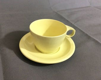 Vintage Retro Yellow Coffee / Tea Cup and Saucer by Texas Wear