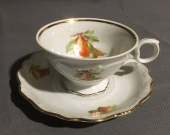 Vintage Bavaria Schuman Arzberg Germany Tea Cup and Saucer Pear (main) Strawberry and Apple w/ Gold Trim