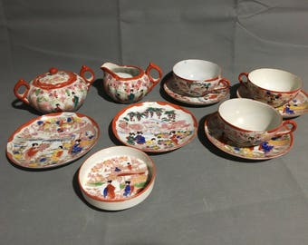 Vintage Nippon Japanese Tea Set Geisha Porcelain Hand Painted Tea Cups and Saucer Cream and Sugar Plates Bowl