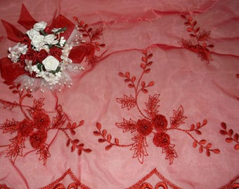 Red Beaded Scalloped Flower Organza
