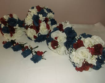 Pre Made Navy/ Burgundy /Ivory Wedding Bouquets