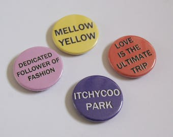 1960 Music Inspired Badges - Set of 4