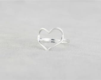 925 Sterling Silver Heart adjustable ring