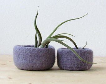 Purple grey felted bowl / Two nesting bowls in light lilac / Cozy gift Air plant holder - Wool vessel