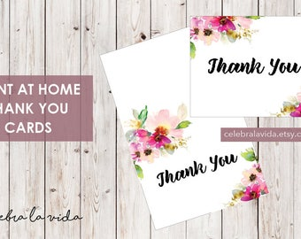 Thank You Card. Instant Download. Printable Thank You Card. Pink Flowers.