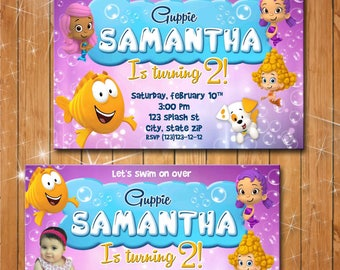 Bubble Guppies invitation- baby girl birthday party invitation- thank you card-  FREE FAVOR TAG- Digital file or printed