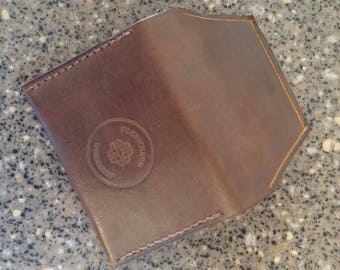 Handmade leather minimalist card wallet made in USA