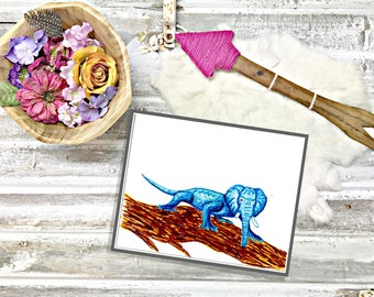 Hybrid Elephant Iguana- Blue- Drawn by hand-Unique art-Great conversational piece!