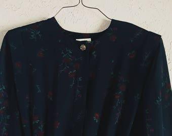 1980s Navy Blue Floral Mid-Calf Length Dress