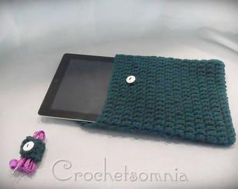 Crochet Tablet Cover & Ear bud Holder Set