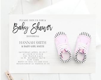 Baby shower invitation, pink baby shower invitation, girl baby shower invitation, baby shower invite, pink baby shower invitation