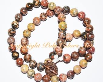 "24"" Leopardskin Jasper Stone Bead Necklace, Neutral Necklace, Jasper Stone Necklace, 24 Inch Necklace, Go With Everything,  Brides Maid Gift"