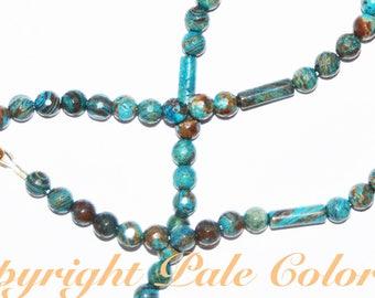 "27"" Blue Casilica Jasper Stone Bead Necklace,Turquoise Blue Jasper Stone Necklace,26 Inch Necklace, Dainty 6mm Blue Casilica Jasper Necklace"