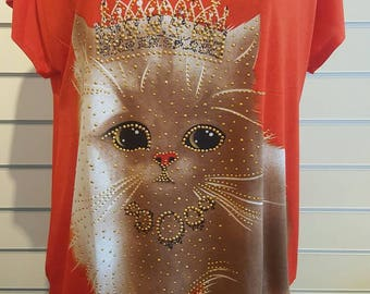 CLEARENCE Cute womens fashion orange kitten baggy fitt trendy summer plus size top-tshirt ladies cheap tops