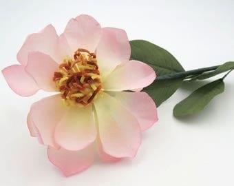 Pink Silk Flower. Pink Clematis. Vintage Silk Flower. Made in Japan. Floral Supplies. Flower Stem.