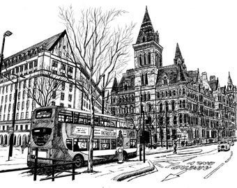 Manchester Town Hall Signed Print