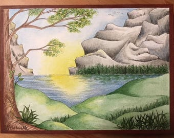 """Landscape #2 done in Pen & Ink with watercolour - original painting mounted on wood, 6x8 inches, """"Serenescape"""""""