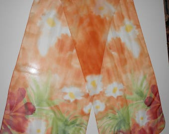 Scarf floral pattern color orange and burgundy size 63 X 13