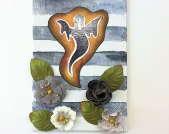 Ghostly Flowers - Halloween - Mixed Media Watercolor