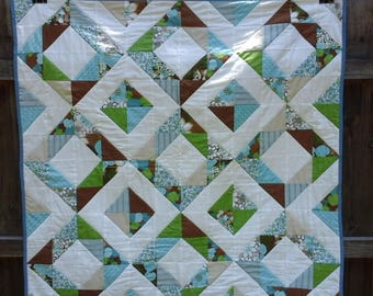 Lap Quilt / Table Topper. Beautiful blues and browns.  Accent your kitchen table for a comforting feel.