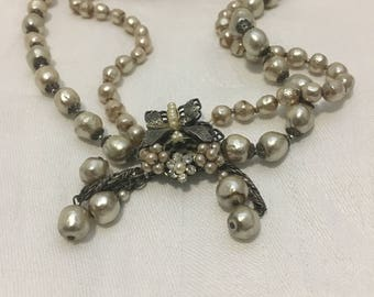 Classic Robert deMario Dragonfly Necklace in Silver & Pearls. Two Strand. Signed. 1950's