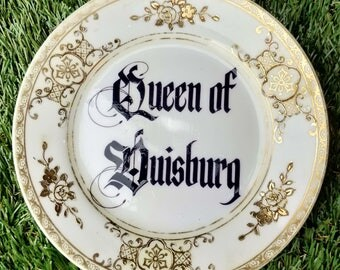 League of Gentlemen 'Queen of Duisburg' Upcycled Vintage Plate - dark comedy humour gift gold floral