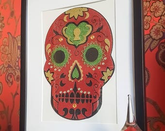 Day of The Dead Sugar Skull - Die-cut Collage