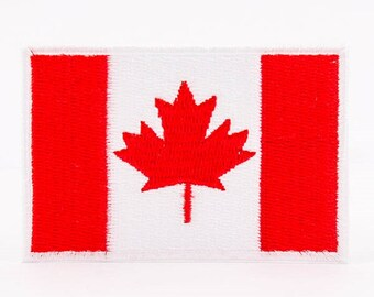"""Iron On Patch Canada Flag Patch CA Flag Patch for Jackets Military and Boy Scout Style Patch for Sleeve Sew On or Iron On - 2""""x3"""" I1033"""