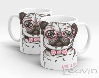 Hand Made Hug a Pug Dog Coffee Tea Sublimation 10oz Drinking Mug