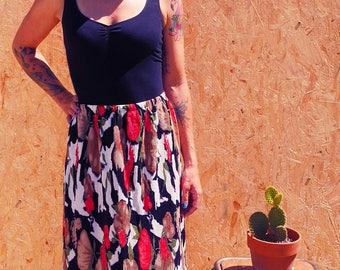 Vintage floral pleated long skirt