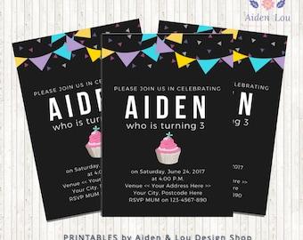Cupcake Birthday Invitation   Third Birthday Invitation   Printable Kids Birthday Invitation   Instant Download Invitation