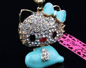 Betsey Johnson Rhinestone hello kitty blue rhinestones and enamel pendant