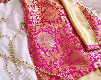 Baby girls dress pink and gold floral print banarsi brocade baby kameez tunic kurti