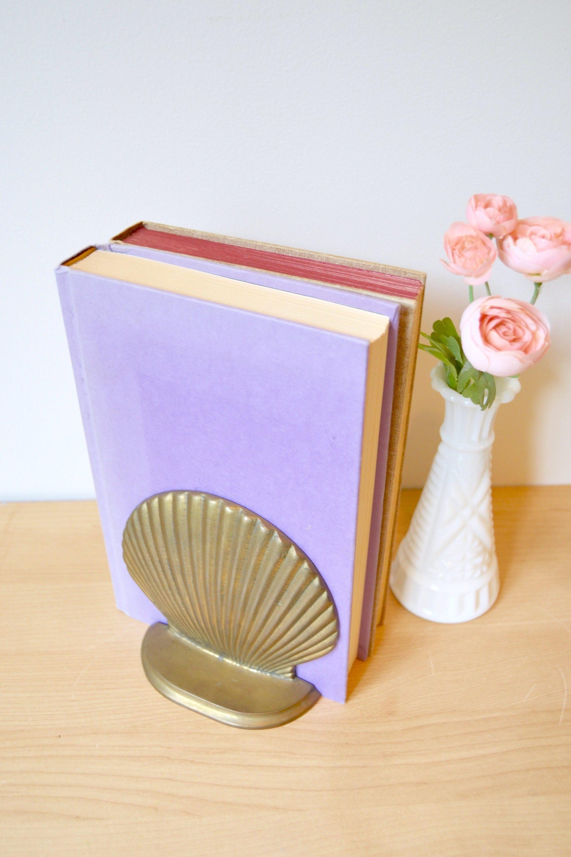 Boho Brass Seashell Bookend Mermaid Decor For Bookshelf Or Desk Mid Century Modern Office