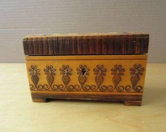 Vintage Wooden Box for Jewelry - 1970's