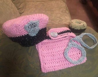Marine and Police Crochet Hat and Diaper Cover set