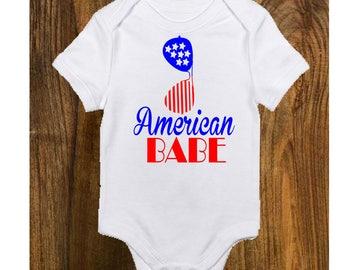 Onesie,4th of July ,Patriotic Onesie,American Babe,Holiday Onesie, Girl Onesie,