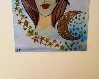 Einzigartiges Mond Mädchen Aquarell :)
