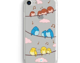 Cute Clear Case for Iphone and Samsung- Birds Singing