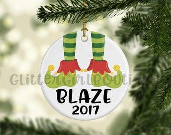 Christmas Ornament, Elf Ornament, Elf Feet Ornament, Ornament, Porcelain Ornament, Custom Ornament | Personalized Ornament