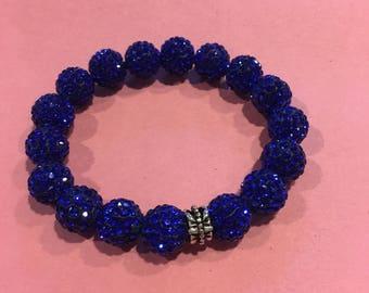 Royal Blue Crystal Rhinestone, Pave Disco Bracelet/w Charm