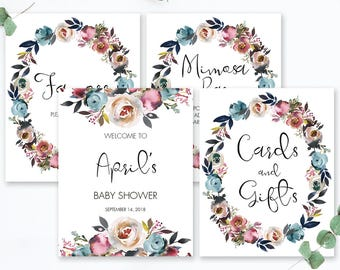 Floral Baby Party Sign Kit Editable Baby Shower Signs Package DIY Welcome to Sign Cards and Gifts Mimosa Bar Sign Favor Signs Printable LF1