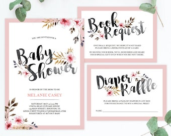 Baby Shower Floral Invitation Template Instant Download Editable Baby Party Invite Insert Baby Girl Shower Invitation Set Diaper Raffle BF2